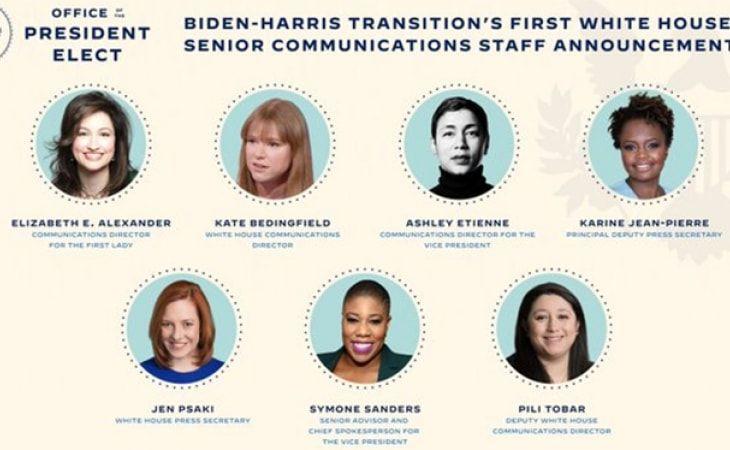 Biden presentó su nuevo equipo de comunicación, compuesto enteramente por mujeres