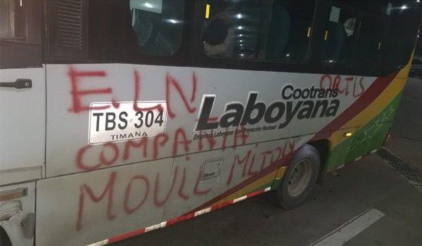 Bus de CootransLaboyana fue interceptado por el ELN en Cauca