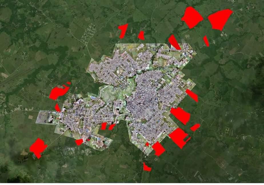 Las zonas rojas serian la implementación de la zona urbana en