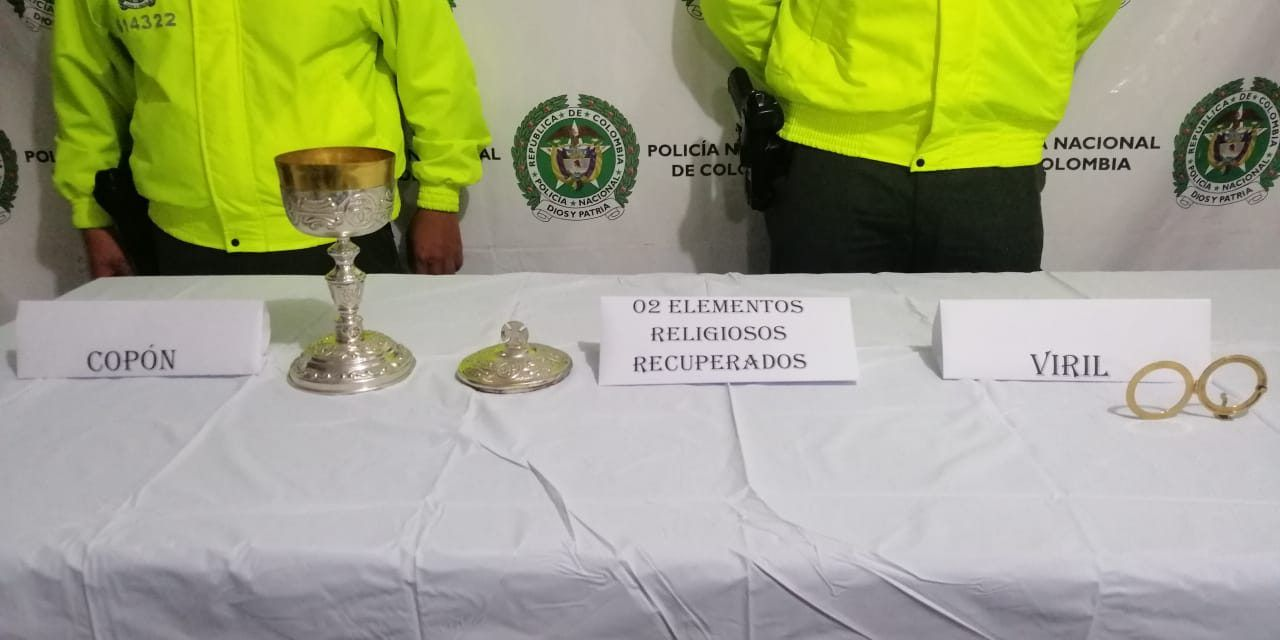 Recuperan objetos robados de la Parroquia Nuestra Señora de Valvanera de Pitalito