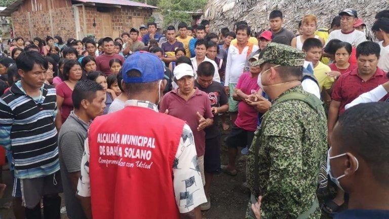 Se pudo determinar que los desplazados son 898 personas que conforman 139 familias de las comunidades de El Brazo (292 personas -66 familias), Boro Boro (239 personas -45 familias), Bacuru Purrú (109 personas- 26 familias) y Poza Mansa (258 personas-62 familias). Foto: Alcaldía de Bahía Solano.