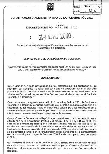 El decreto está firmado por el presidente Iván Duque y el ministro de Hacienda, Alberto Carrasquilla.