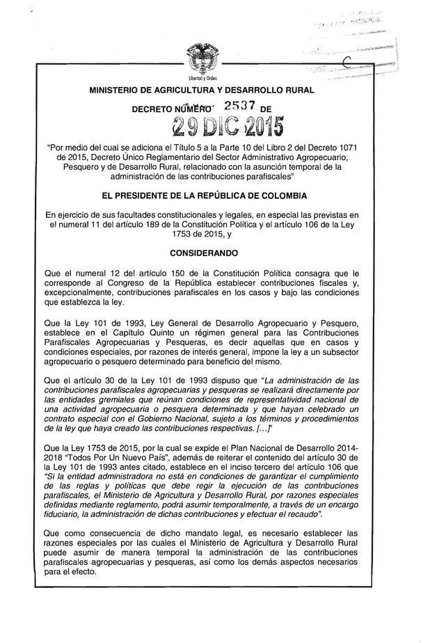 En agosto de 2014, el entonces presidente de la República, Juan Manuel Santos Calderón le tomó juramento a Aurelio Iragorri para nombrarlo ministro de Agricultura.