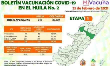 El Huila avanza en la vacunación contra el covid-19