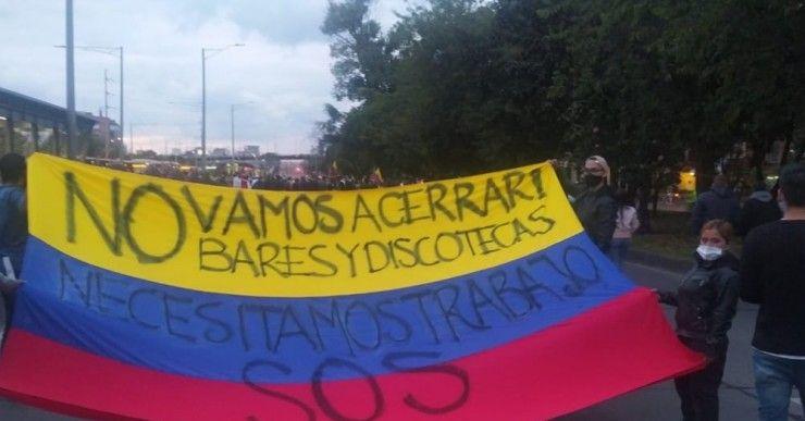 Comerciantes de gastrobares protestaron por restricción en Bogotá