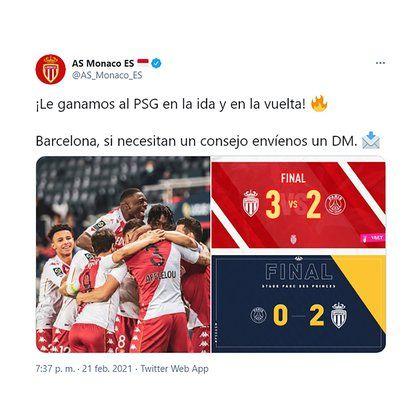 El mensaje del Mónaco al Barcelona que se viralizó en redes sociales