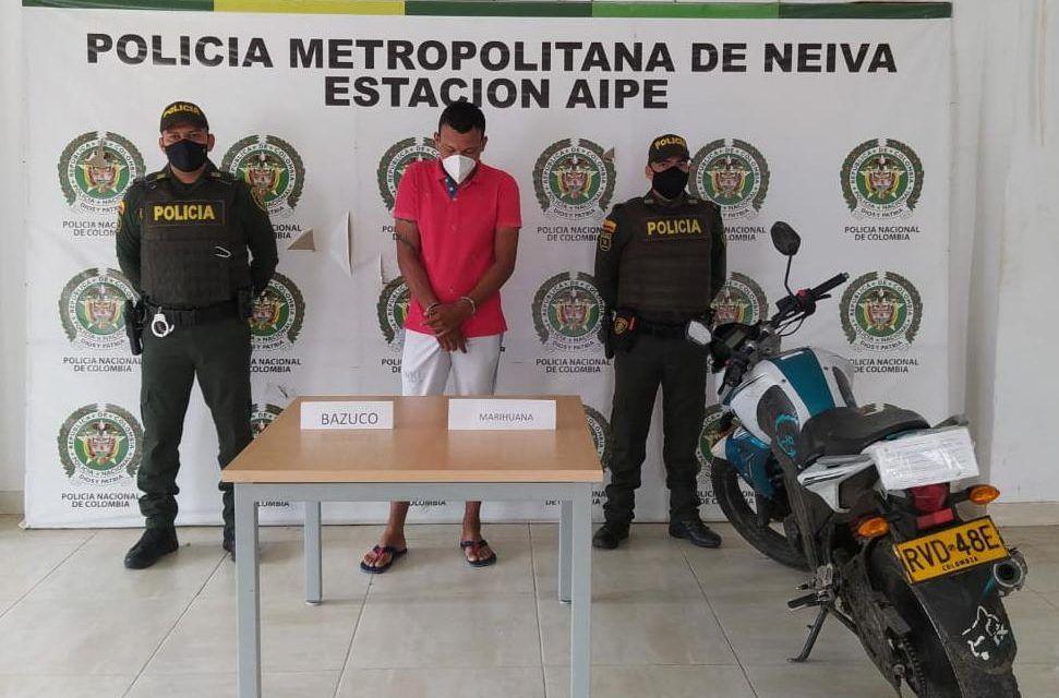 Sujeto fue capturado en la vía Neiva – Aipe con sustancias psicoactivas