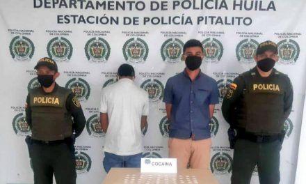 Con 70 dosis de cocaína fueron sorprendidos dos hombres en el centro de Pitalito