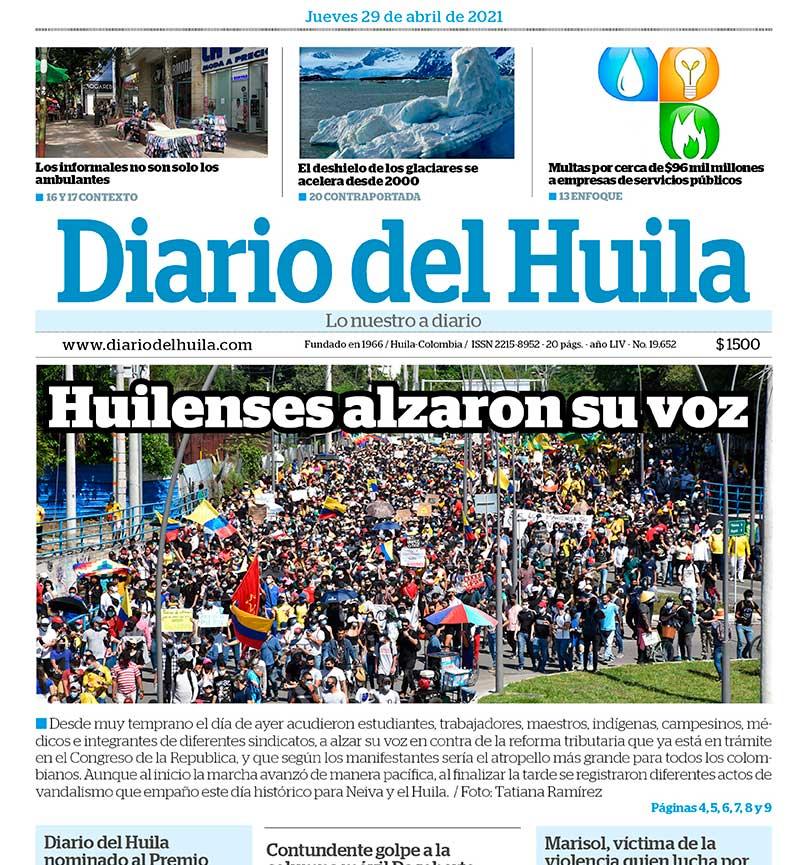 Diario del Huila 29 de abril del 2021