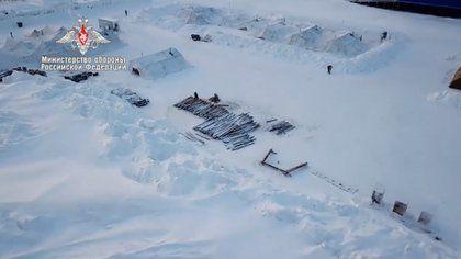 Una de las bases en el Ártico, en la captura de pantalla de un video de Ministerio de Defensa ruso.