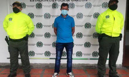 Capturado en Garzón por tentativa de homicidio y porte ilegal de armas de fuego