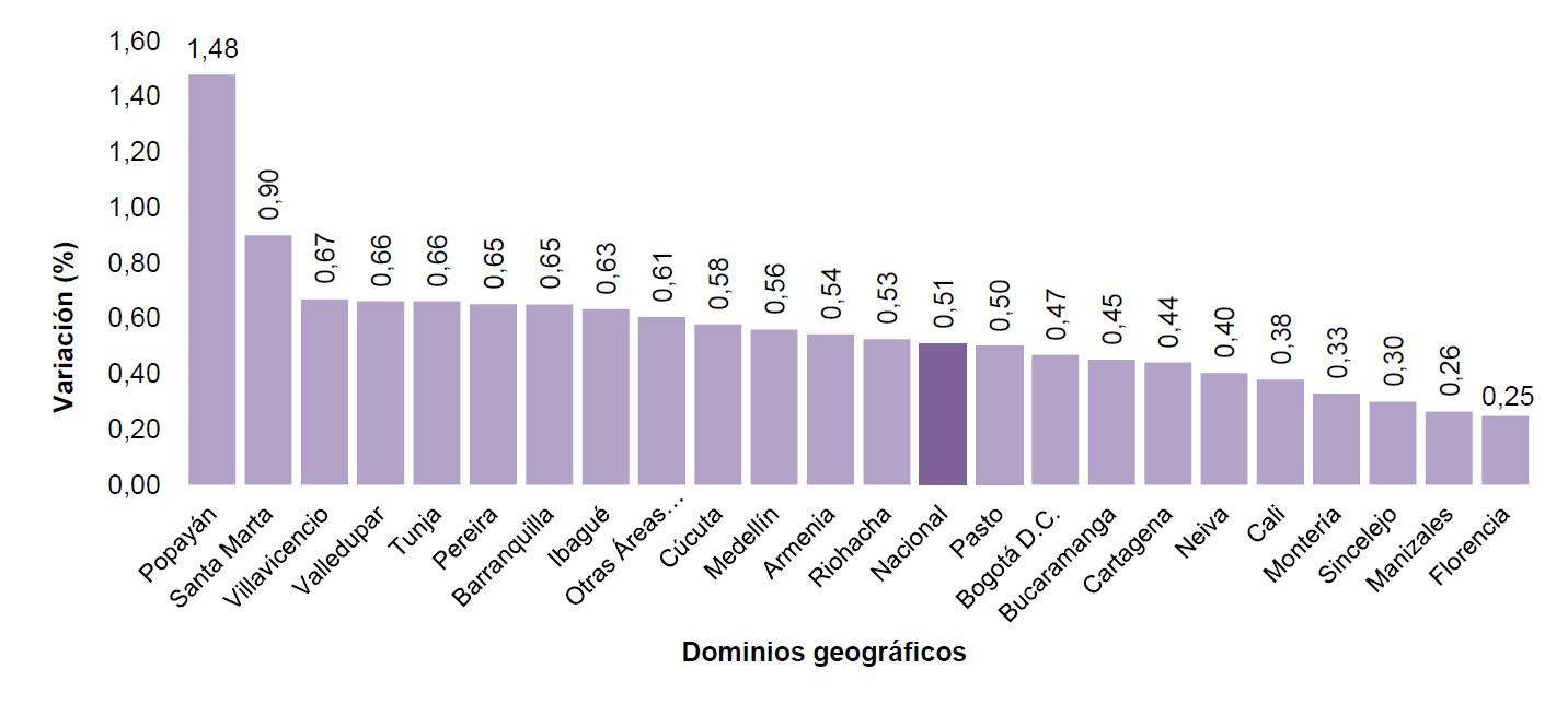 Variación mensual del IPC por dominios geográficos.