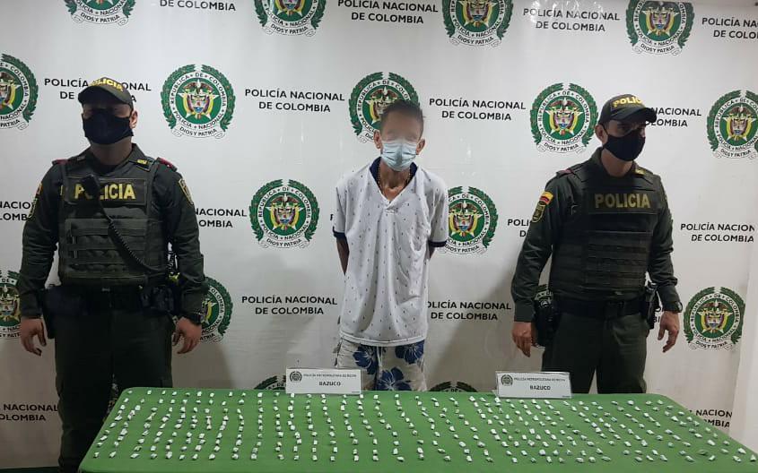 Sujeto fue capturado por portar 350 papeletas de bazuco