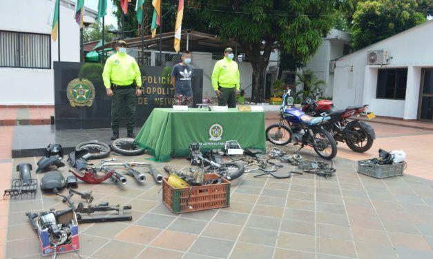Desmantelan 'deshuesadero' de motocicletas al sur de Neiva