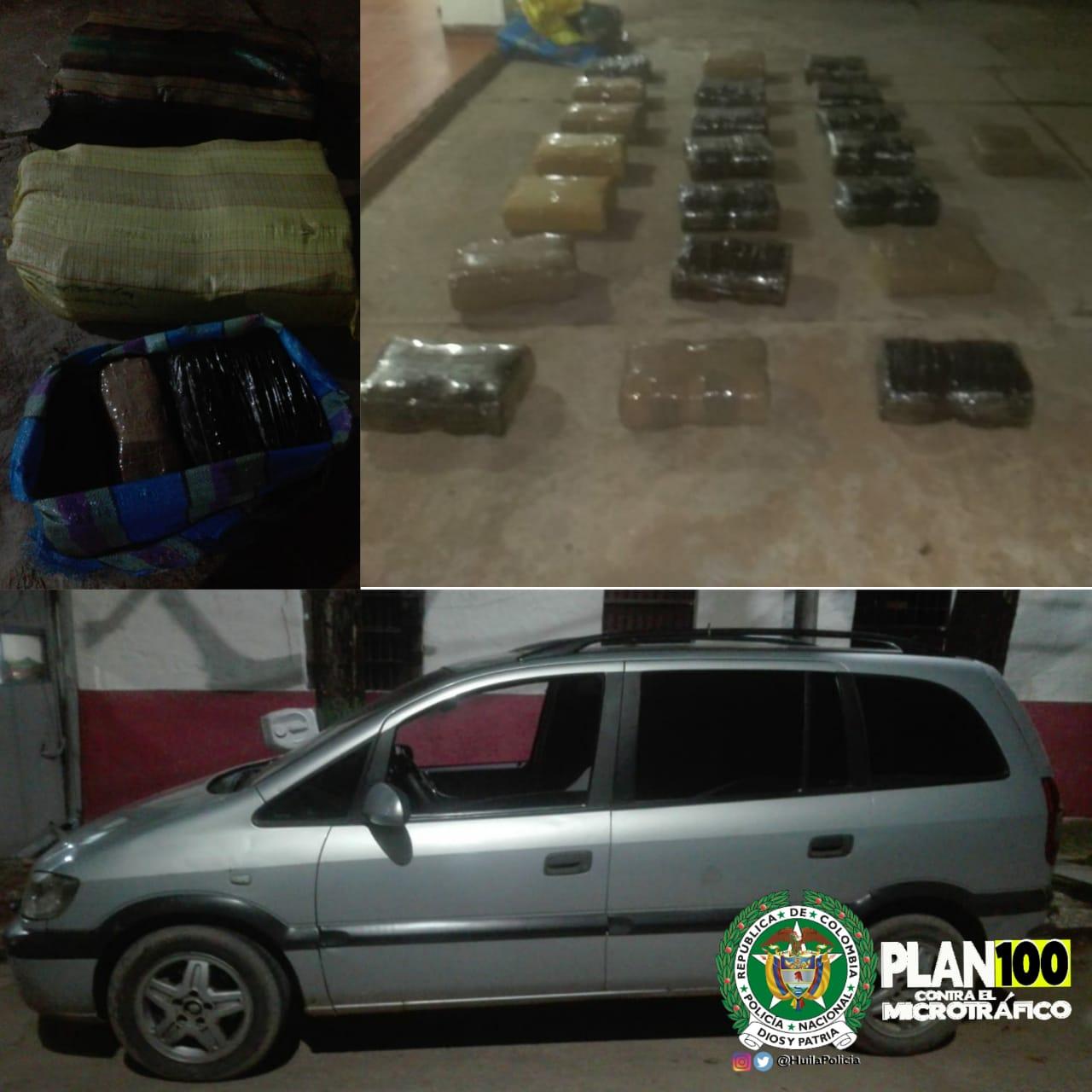 Capturados transportando 100 kilos de marihuana en Yaguará