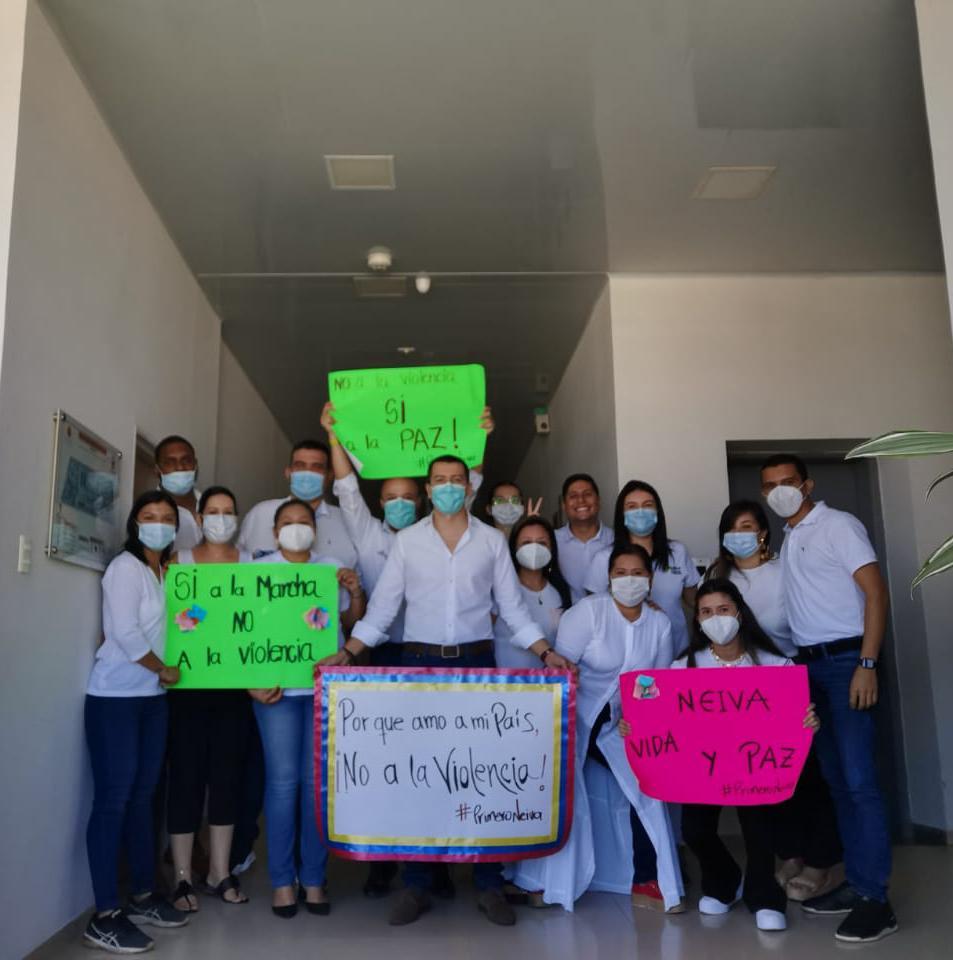 'Cordón humanitario' protege instalaciones de la Alcaldía de Neiva