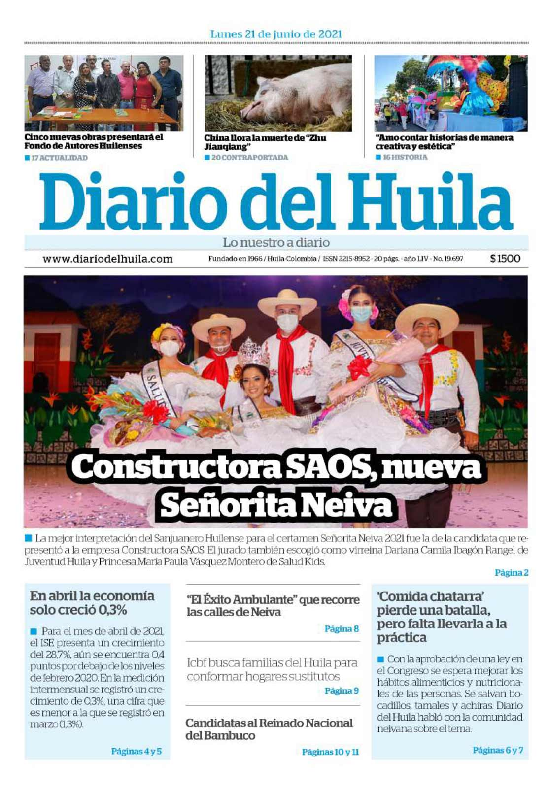 Diario del Huila 21 de junio de 2021