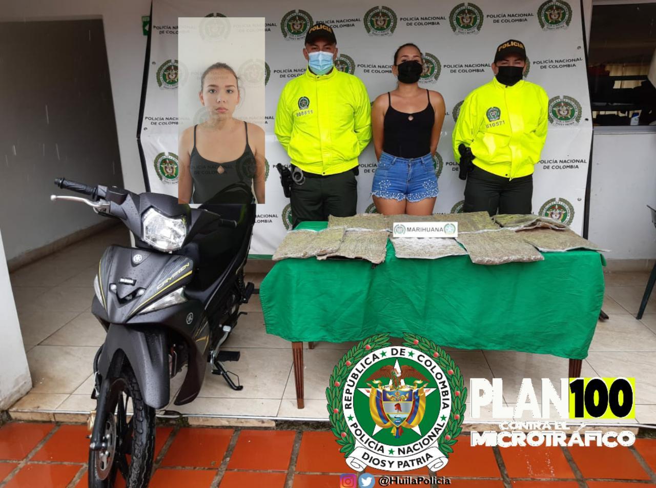 Cae mujer que en su moto llevaba más de 4 kilos de marihuana