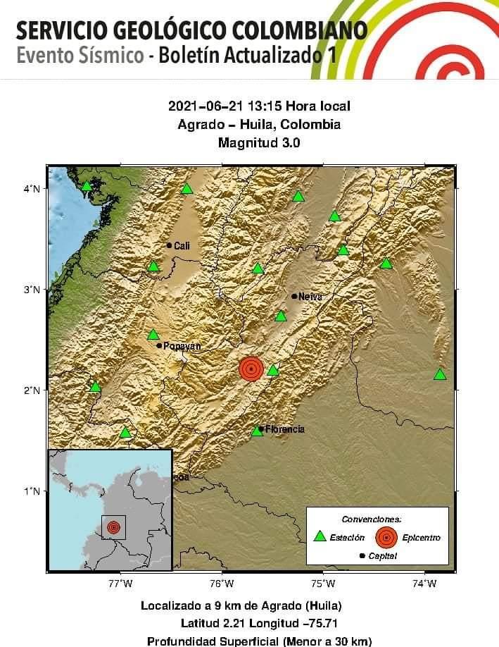 Nuevo temblor en el Huila, con epicentro en El Agrado