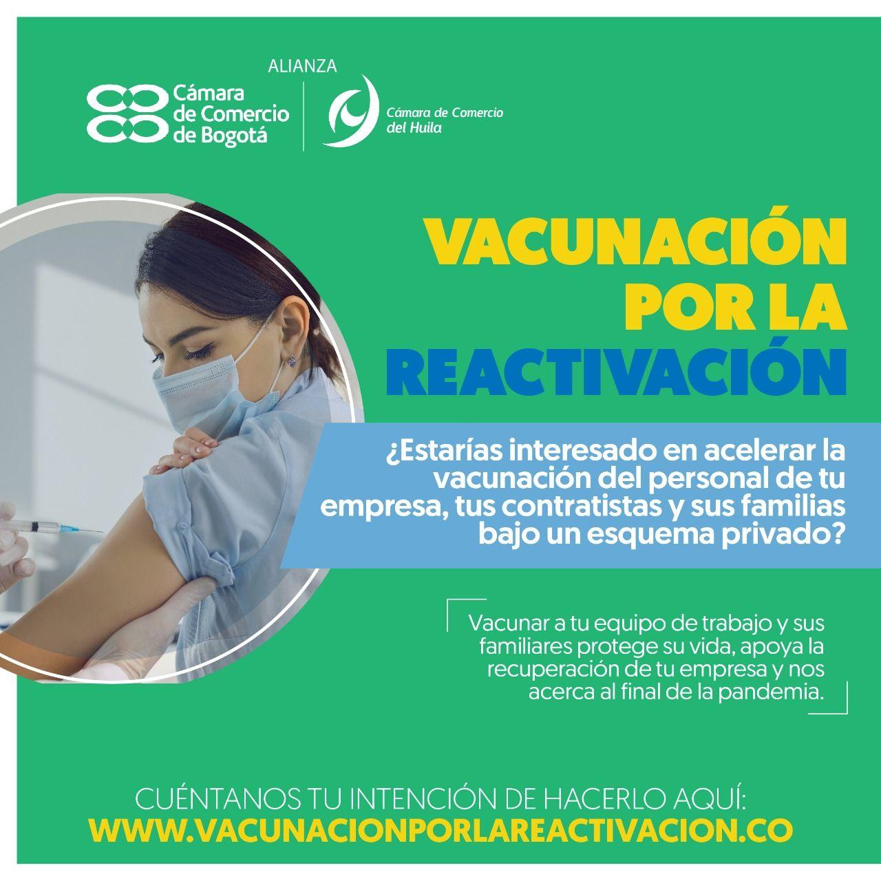 Cámara de Comercio del Huila promueve vacunación para el sector privado
