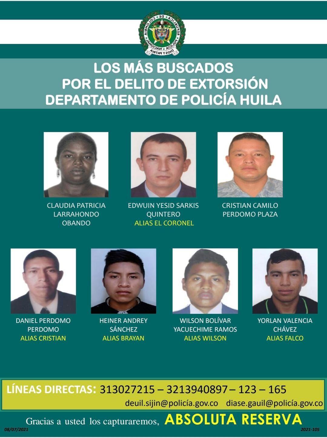 Policía presenta el cartel de los más buscados por extorsión en el Huila