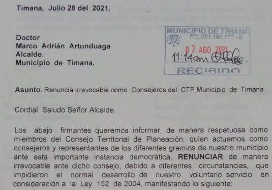 Miembros del CTP de Timaná presentaron renuncia al alcalde local