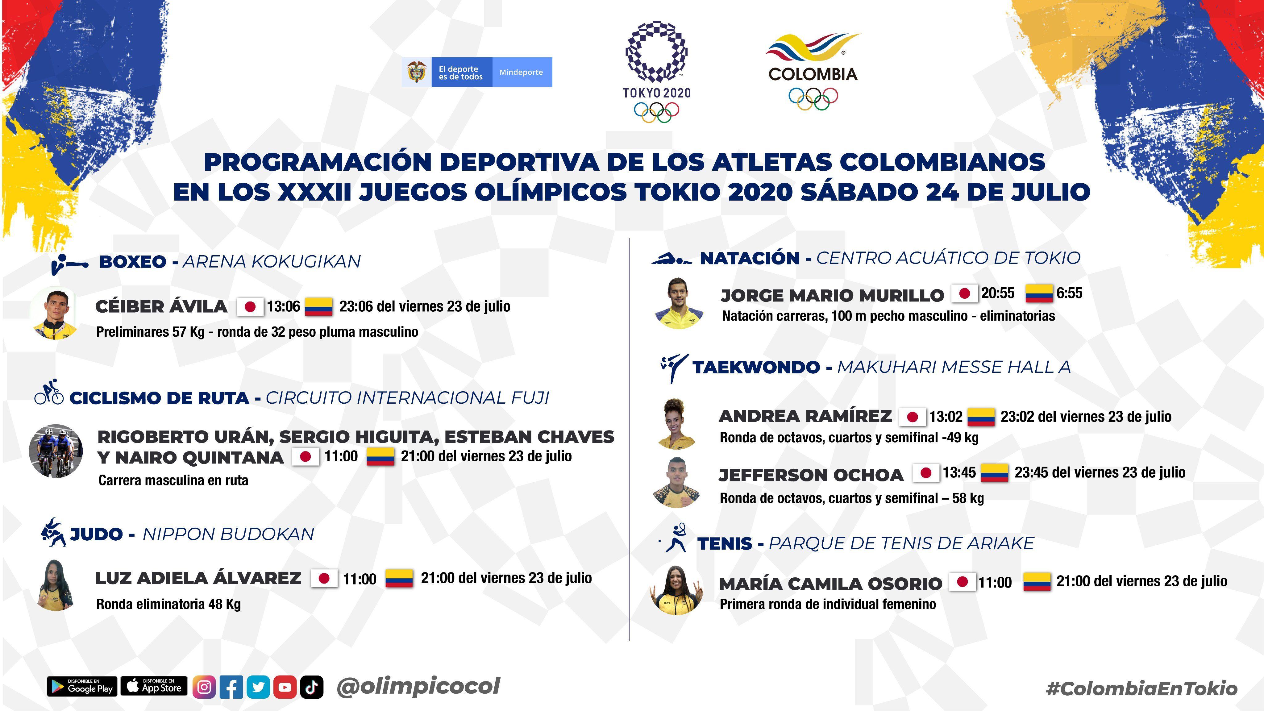 Programación deportiva de Colombia en JJOO para este viernes y sábado
