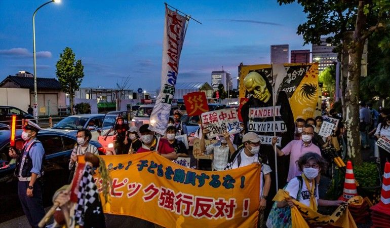 Protestas una semana del inicio de los Olímpicos de Tokio