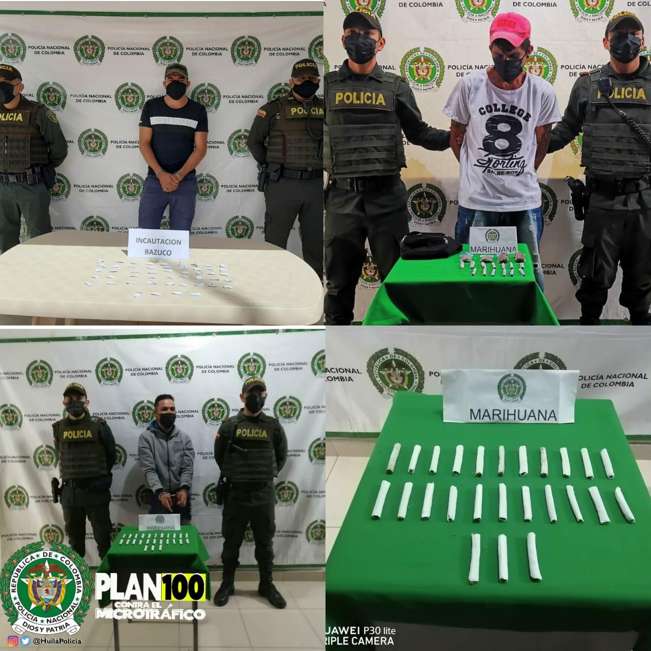 Capturados con cigarrillos de marihuana en el sur del Huila
