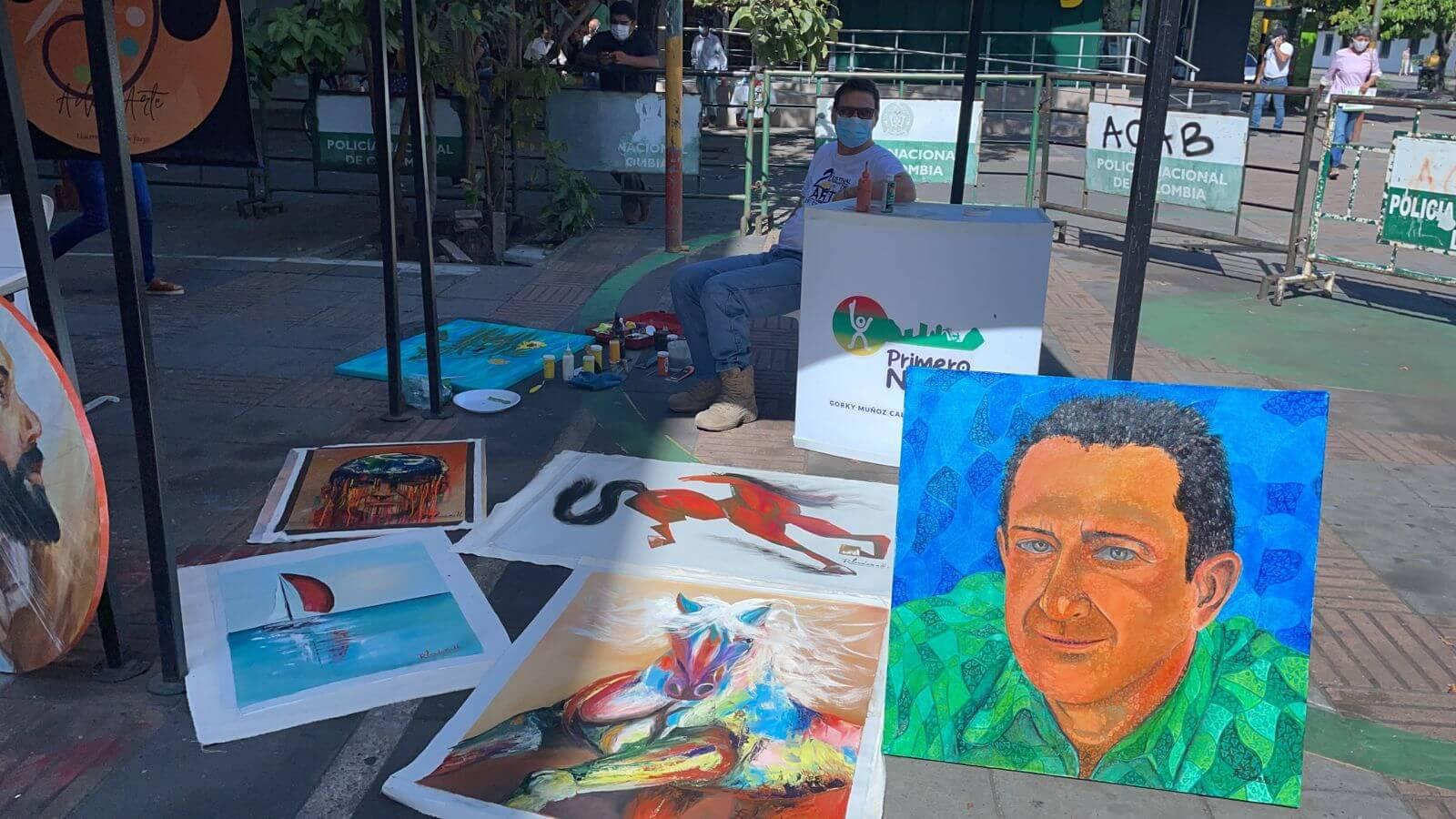 Artistas opitas exponen sus obras en la Alcaldía de Neiva