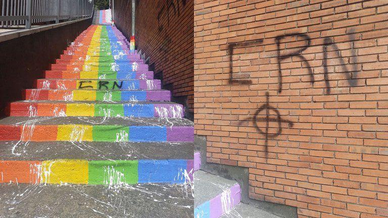 En Bogotá sabotearon escaleras pintadas en honor a las víctimas LGBTI