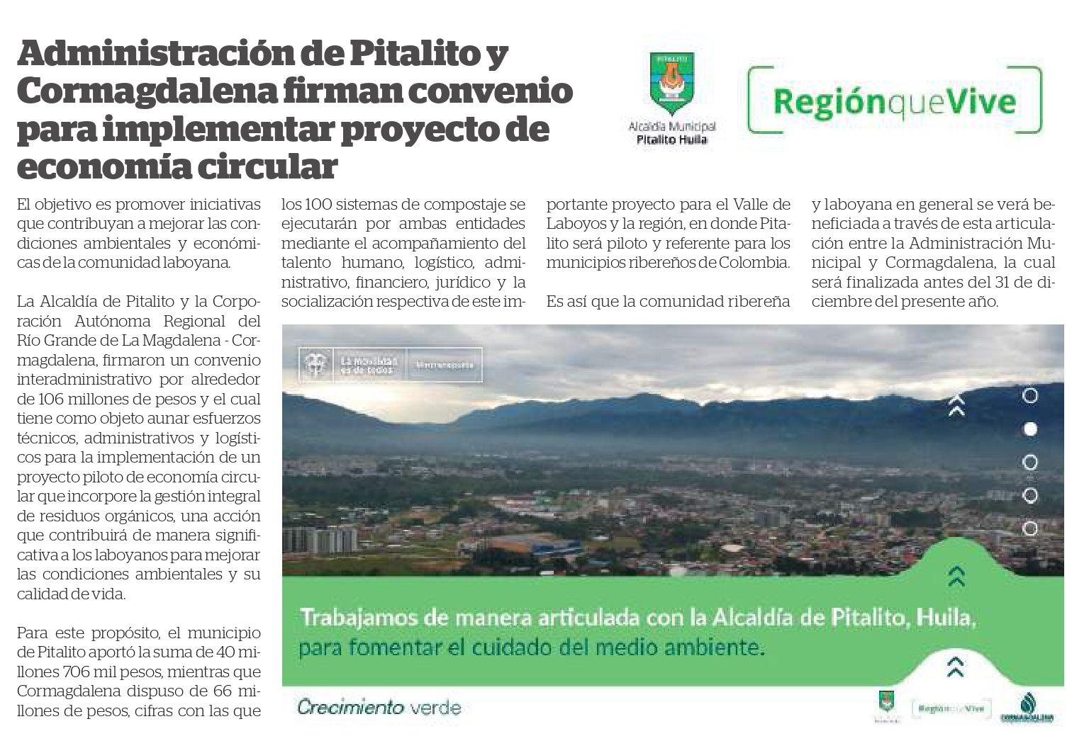 Administración de Pitalito y  Cormagdalena firman convenio  para implementar proyecto de  economía circula