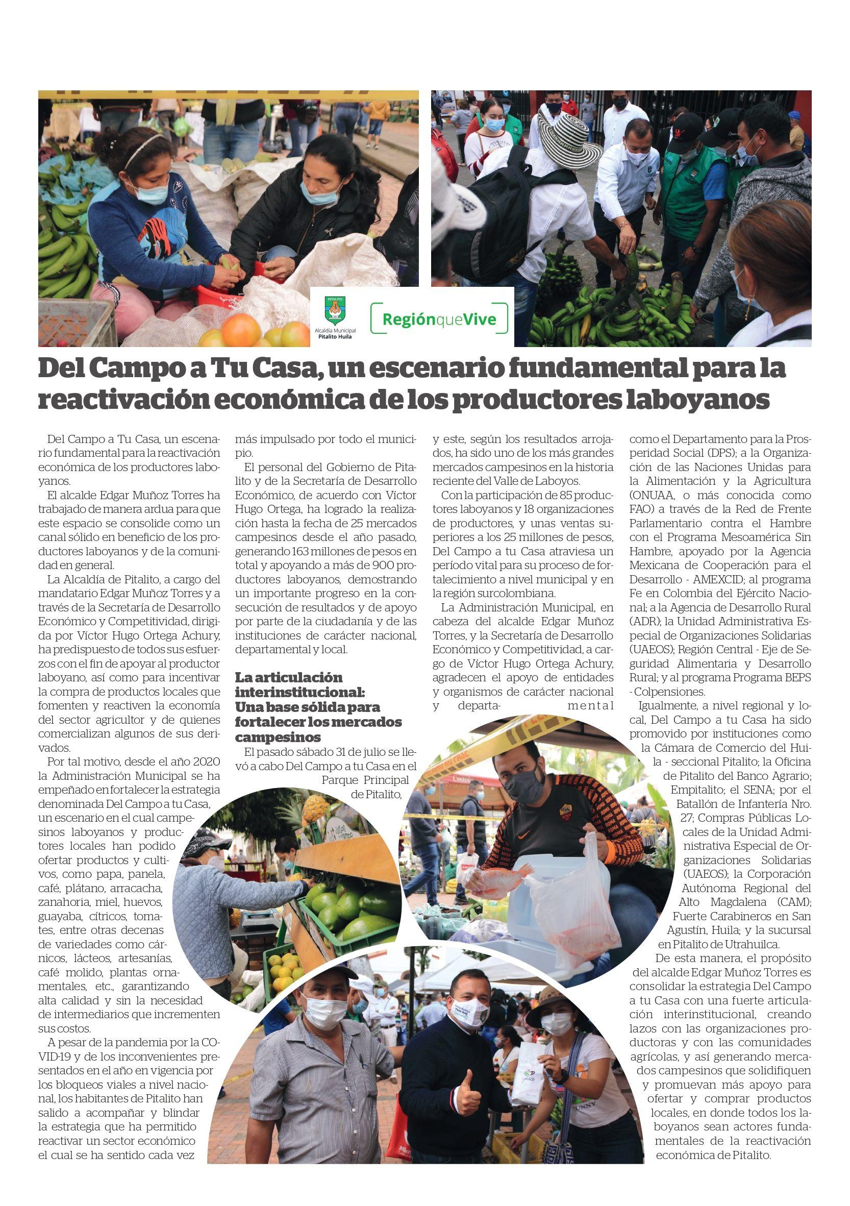 Del Campo a Tu Casa, un escenario fundamental para la reactivación económica de los productores laboyanos